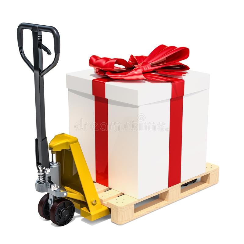 Pallet truck with gift box. Gift delivery concept, 3D rendering. Isolated on white background royalty free illustration