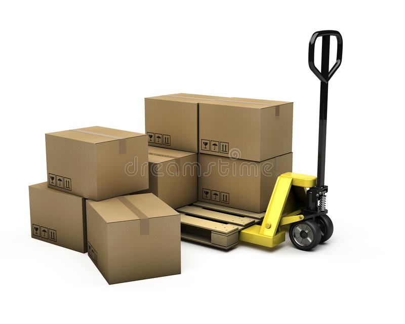 Download Pallet Truck With Pallet And Boxes Stock Illustration - Image: 22203588