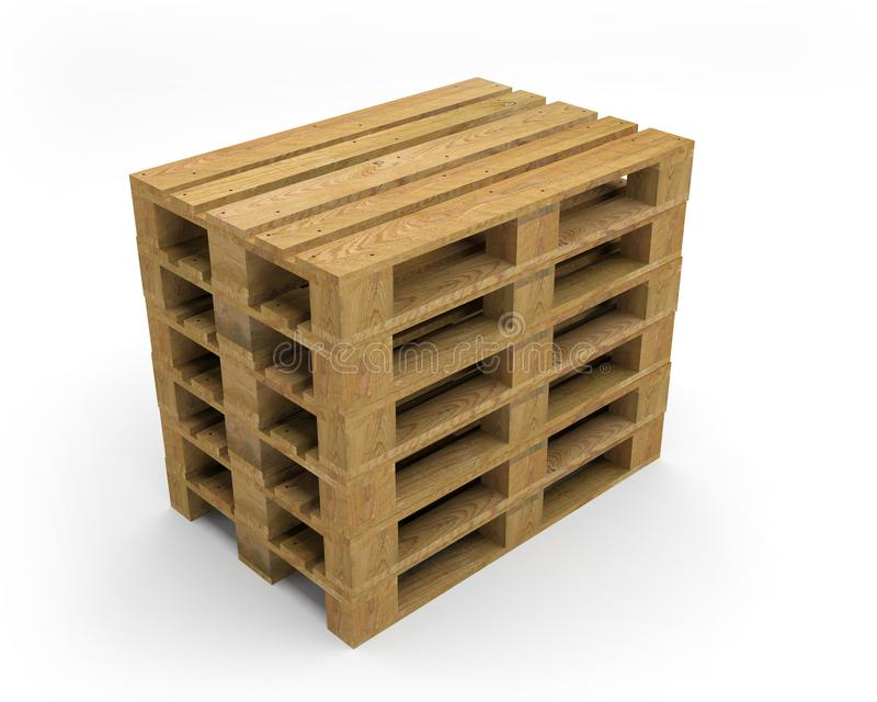 Pallet wood transport 3D illustration royalty free illustration