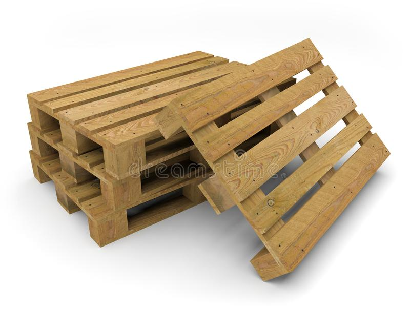 Pallet wood transport 3D illustration vector illustration
