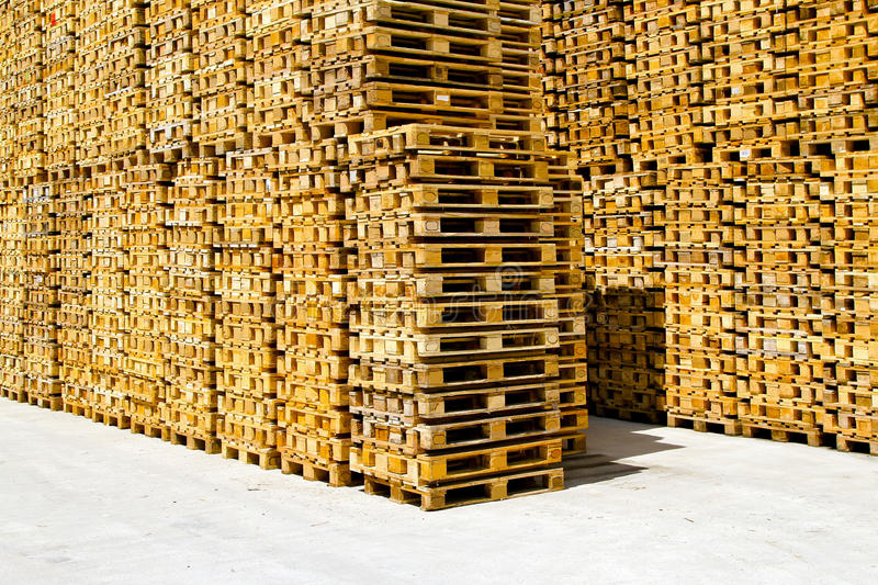 Pallets. Wooden pallets for cargo and logistic at warehouse stock photography