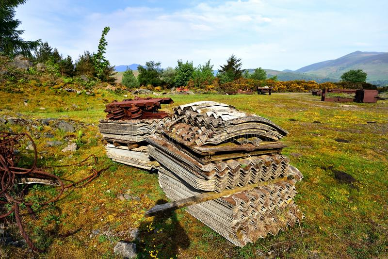 Pallets of Chrysotile asbestos sheets royalty free stock photography