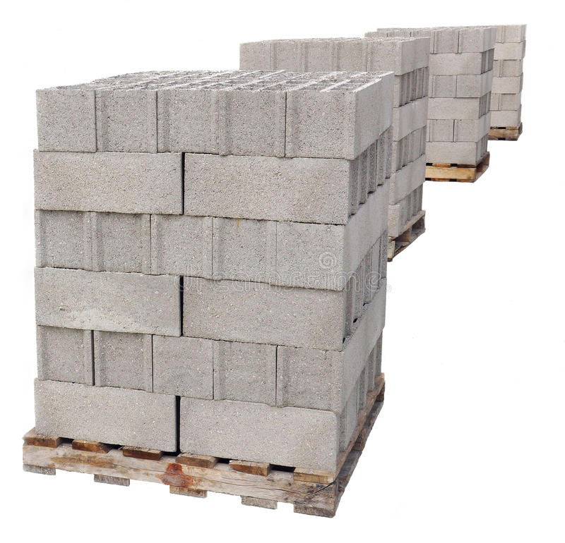 Pallets of concrete blocks. On a white background royalty free stock photo