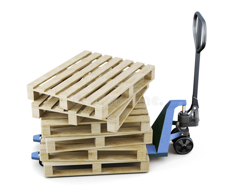 Pallets on a forklift isolated on white background. 3d rendering royalty free illustration