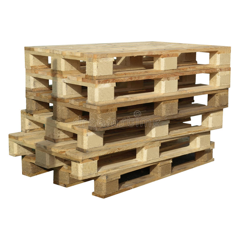 Pallets isolated. Pile of pallets isolated over white background royalty free stock photography