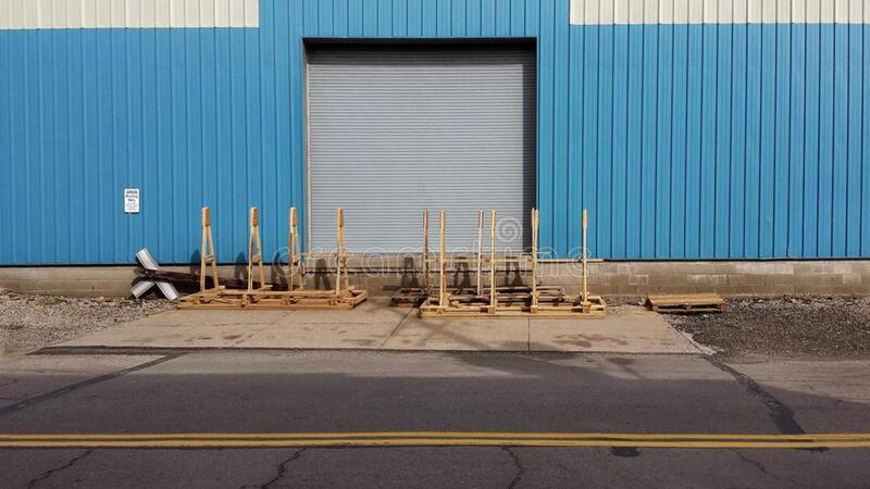 Pallets outside loading dock stock photo