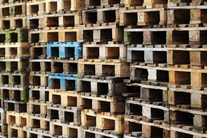 Pallets. Wood stacks storage pile trucking cargo shipping stock photos