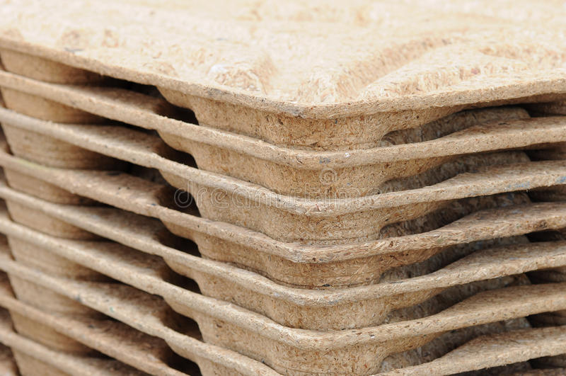 Pallets from recycled wood. Transportation wooden pallets from recycled material royalty free stock photography
