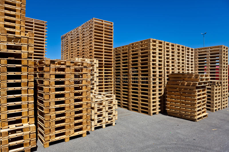 Pallets. Stacked pallets, symbolic photo for freight transport and logistics stock images