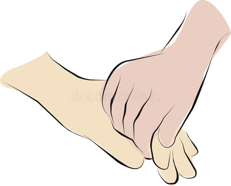 Palliative care and hold hands royalty free illustration