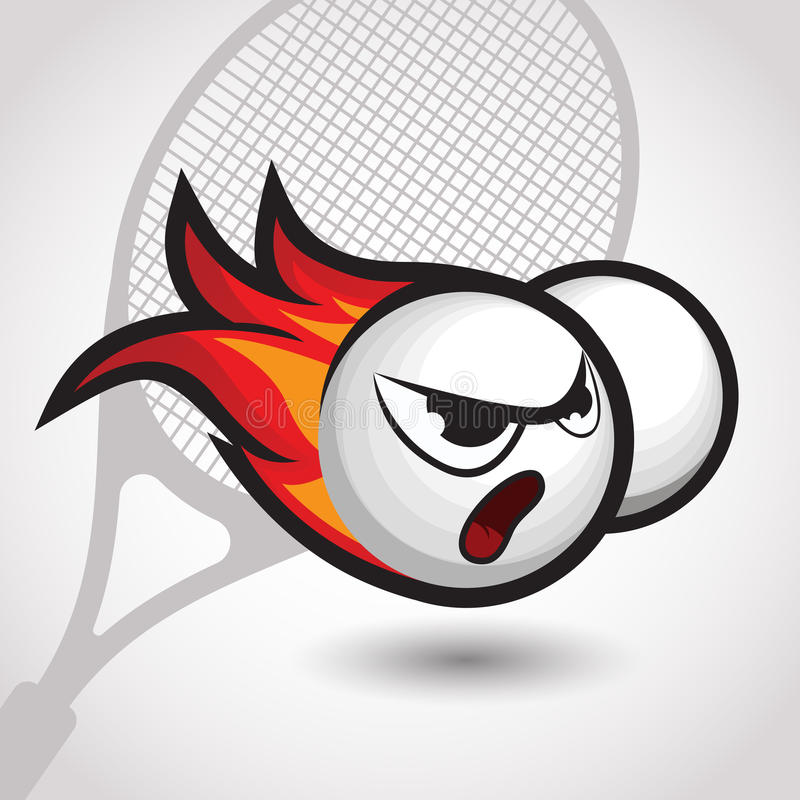 Pallina da tennis ardente con il fronte arrabbiato, illustrazione di vettore del fumetto royalty illustrazione gratis
