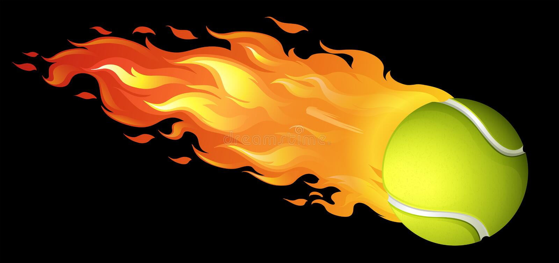 Pallina da tennis ardente sul nero illustrazione di stock