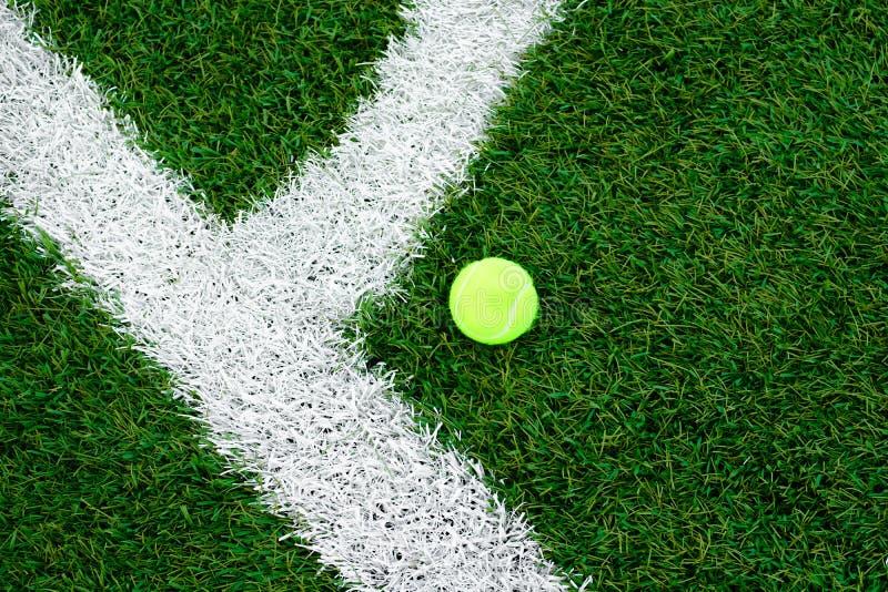 Pallina da tennis che si trova sul prato inglese Tappeto erboso artificiale immagini stock