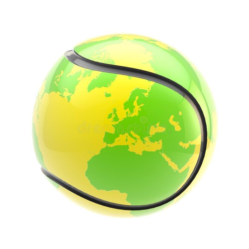 Pallina da tennis come una sfera del pianeta della terra ha isolato illustrazione di stock