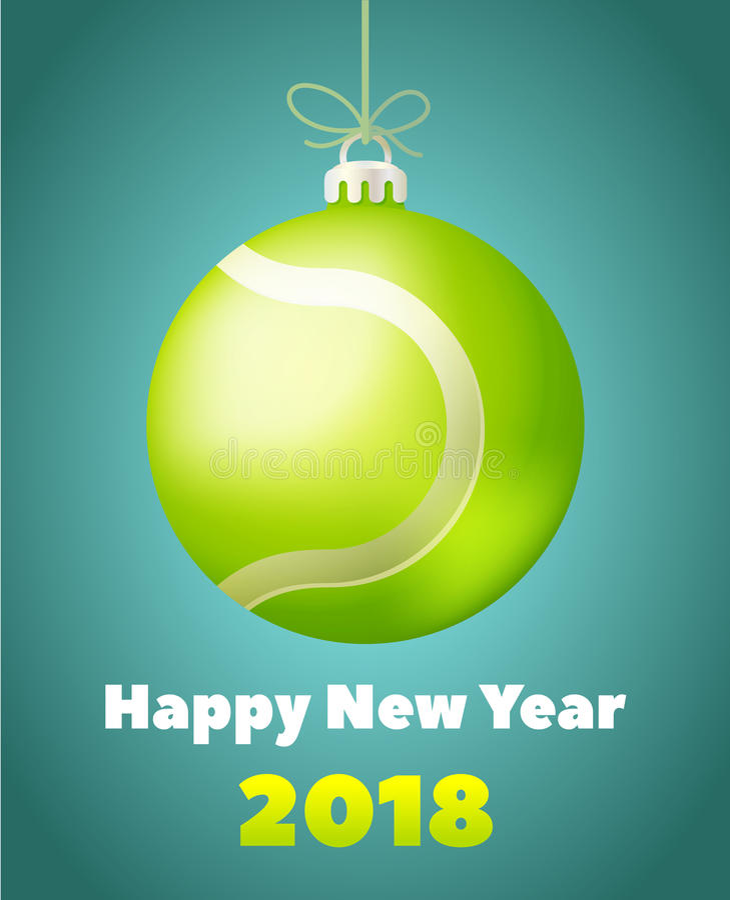 Pallina da tennis del nuovo anno per l'anno del cane illustrazione di stock