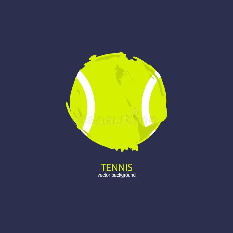 Pallina da tennis dell'estratto di vettore Elemento di sport di lerciume per il manifesto di progettazione, copertura, aletta di  royalty illustrazione gratis