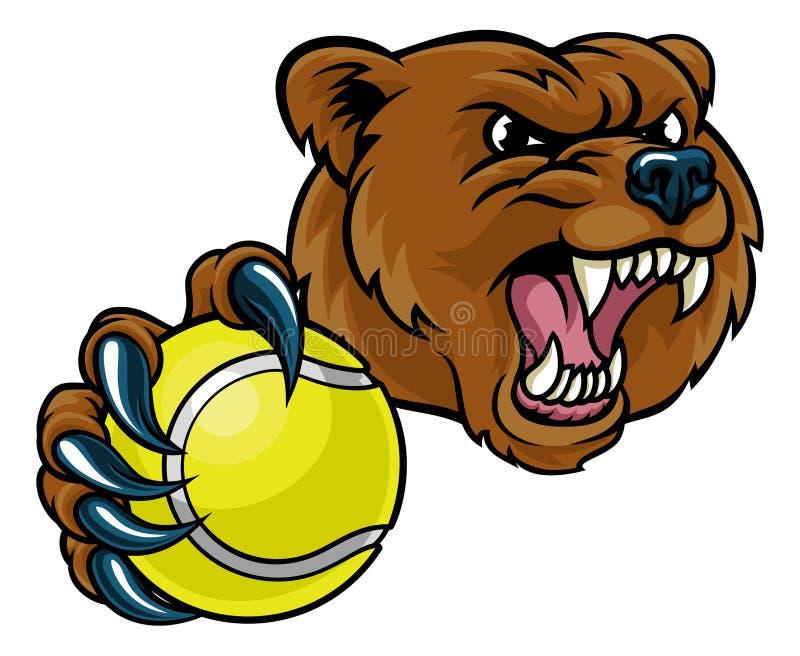Pallina da tennis della tenuta dell'orso illustrazione di stock