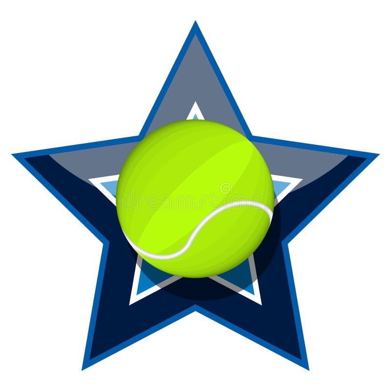 Pallina da tennis su una stella illustrazione di stock