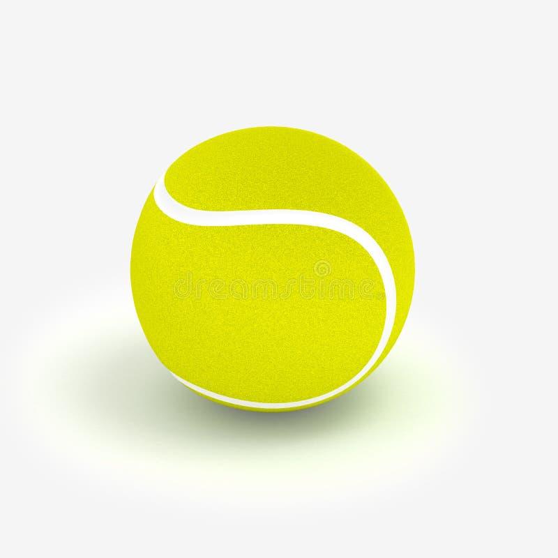 Pallina da tennis sull'illustrazione bianca del fondo 3D royalty illustrazione gratis