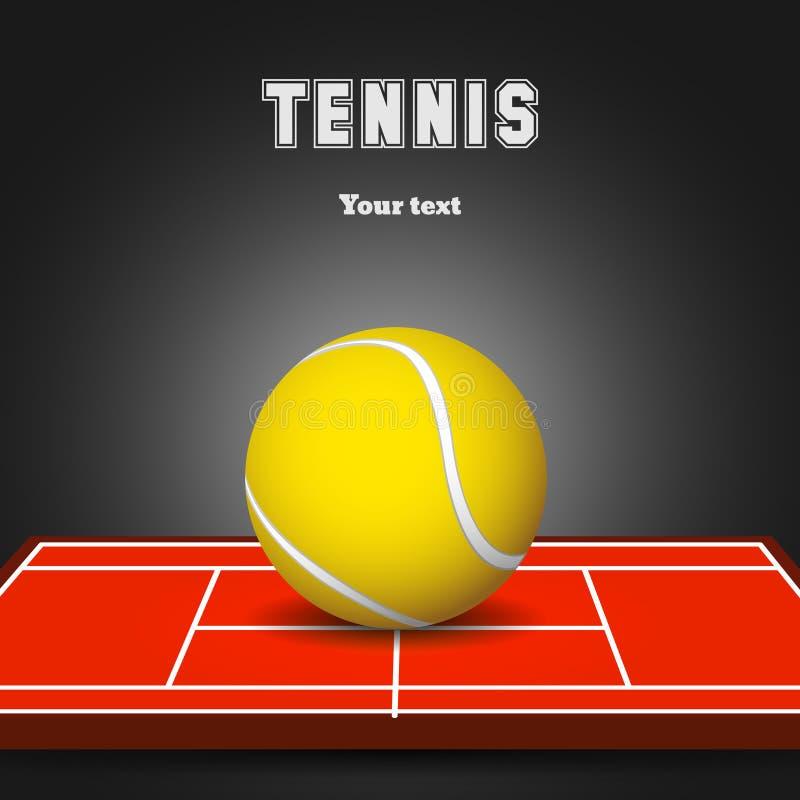 Pallina da tennis sulla corte illustrazione vettoriale