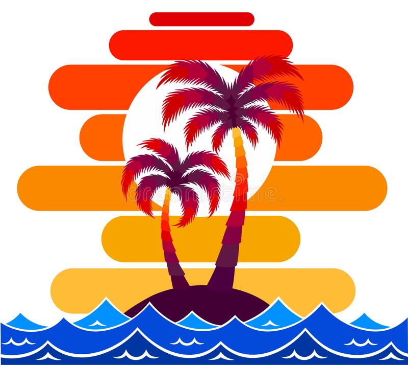 Pallma树传染媒介例证日落波浪海海洋设计艺术印刷品旅行热带海岛太阳旅游业假日 皇族释放例证