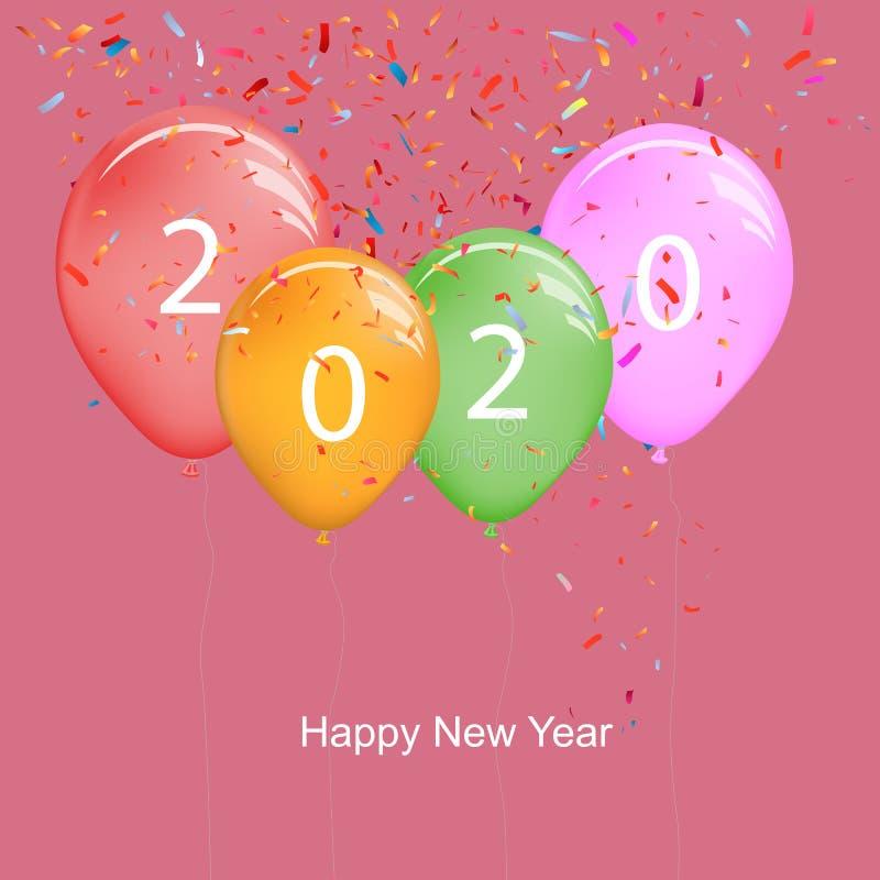 2020: palloncini del nuovo anno con confetti colorati illustrazione vettoriale