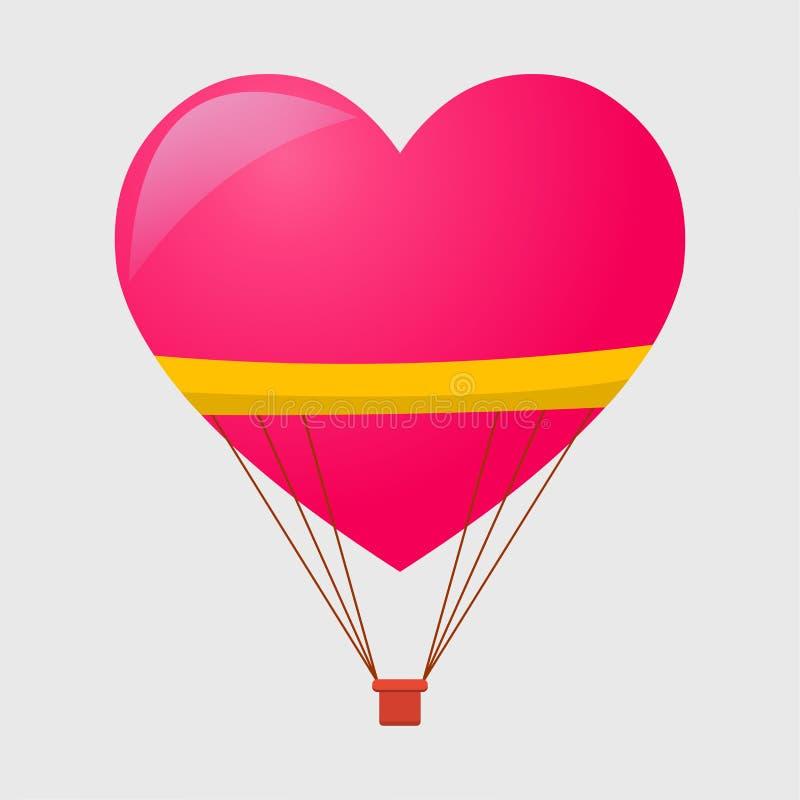 Palloncino ad aria calda in forma di illustrazione del vettore cardiaco illustrazione di stock