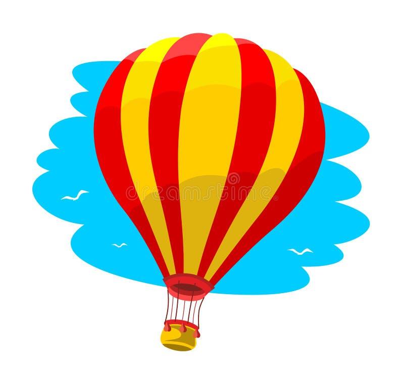 Palloncino ad aria calda nel cielo blu illustrazione di stock