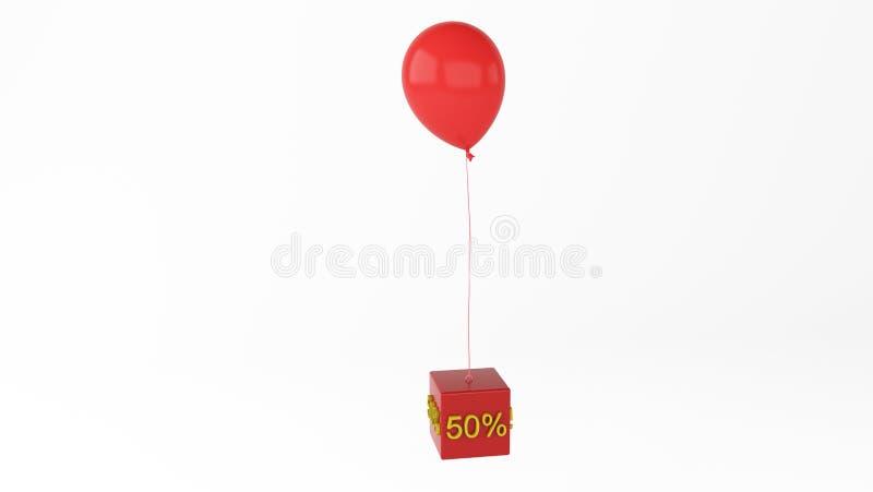 Pallone con interesse 50 del cubo illustrazione vettoriale