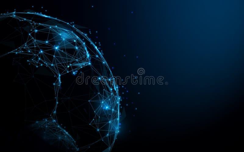 Pallone da calcio astratto dalle linee e dai triangoli, rete di collegamento del punto su fondo blu vettore dell'illustrazione illustrazione vettoriale