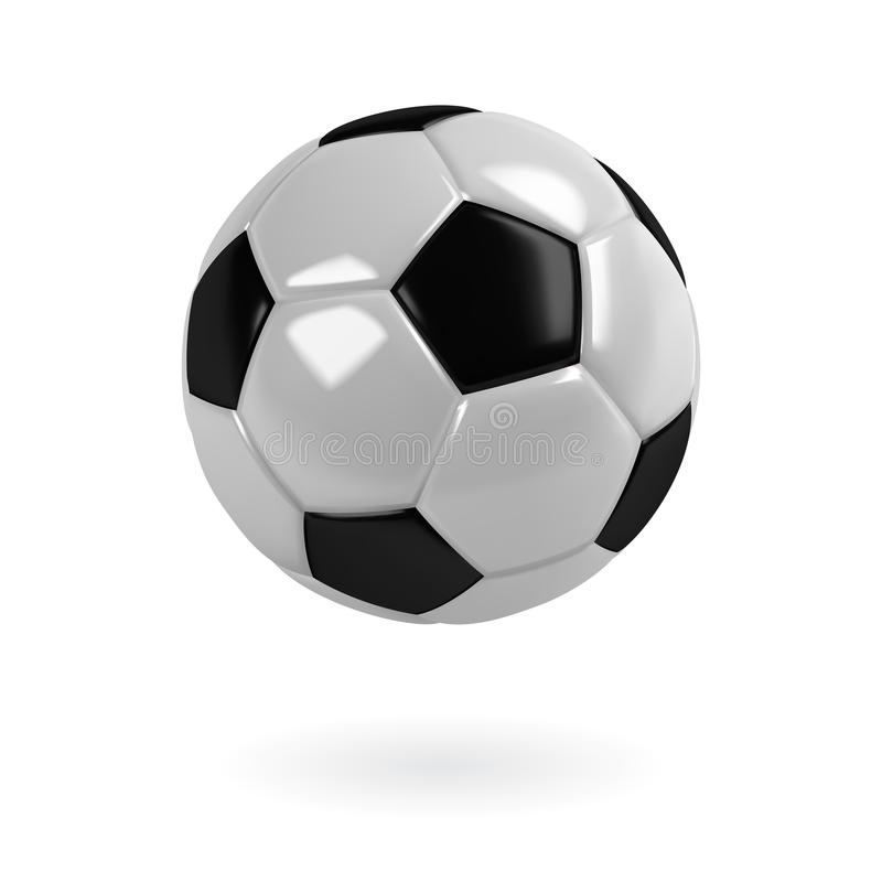 Pallone da calcio in bianco e nero realistico Vettore isolato illustrazione vettoriale