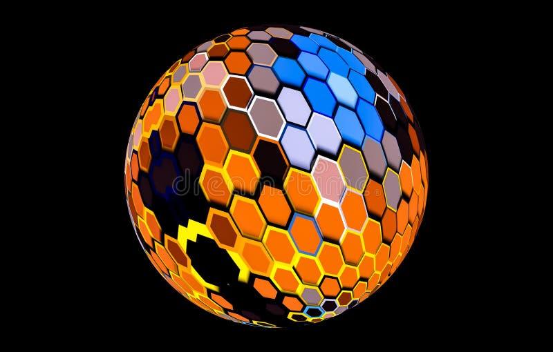 Pallone da calcio brillante o calcio di struttura con multicolore illustrazione di stock