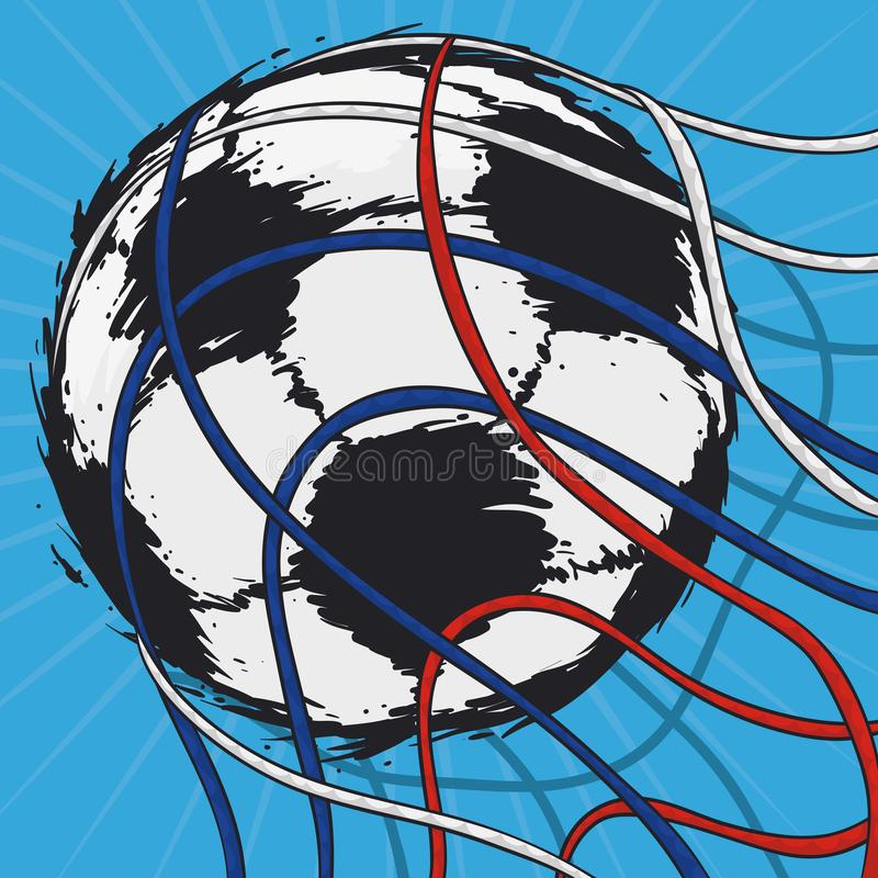 Pallone da calcio che entra in rete durante la partita di calcio, illustrazione di vettore illustrazione vettoriale