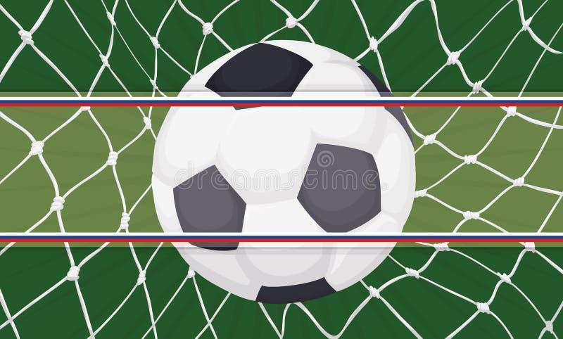 Pallone da calcio che fa uno scopo con l'etichetta con i nastri russi, illustrazione di vettore illustrazione vettoriale