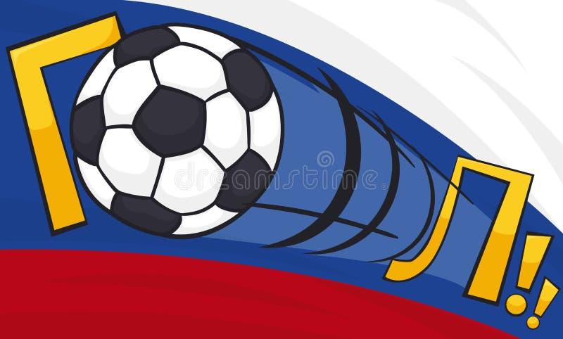 Pallone da calcio che segna uno scopo con un colpo potente, illustrazione di vettore illustrazione di stock