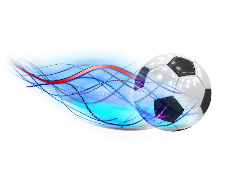 Pallone da calcio classico con la coda della cometa fotografie stock libere da diritti