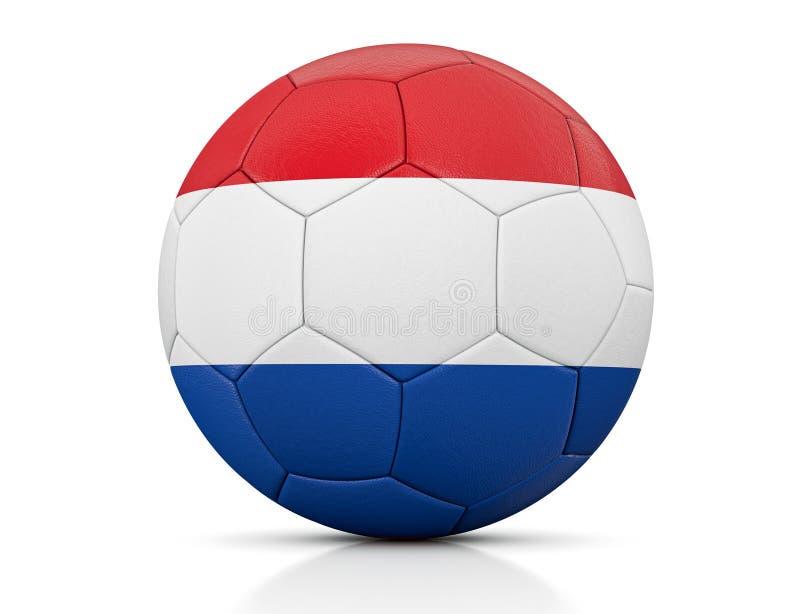 Pallone da calcio, pallone da calcio classico dipinto con i colori della bandiera dei Paesi Bassi e struttura di cuoio evidente i illustrazione vettoriale