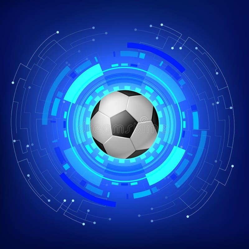 Pallone da calcio con il fondo moderno di tecnologia illustrazione di stock