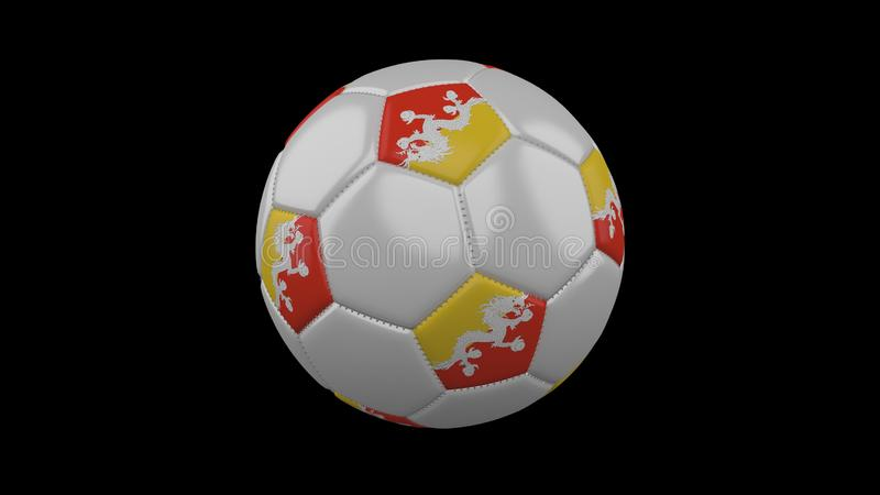 Pallone da calcio con la bandiera Bhutan, rappresentazione 3d illustrazione vettoriale