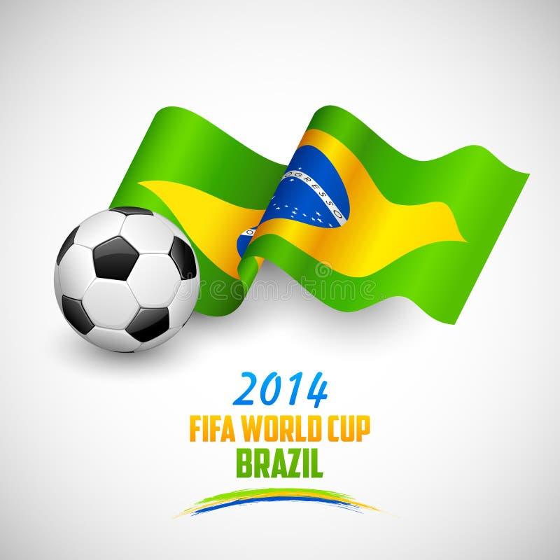 Pallone da calcio con la bandiera brasiliana illustrazione di stock