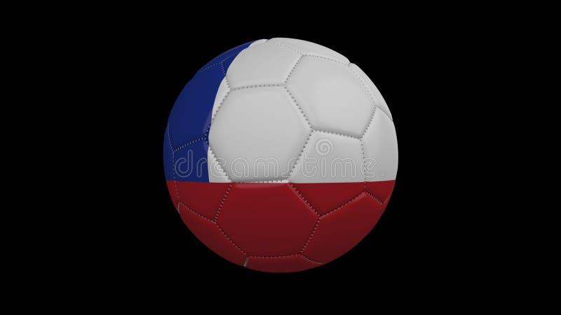 Pallone da calcio con la bandiera Cile, rappresentazione 3d illustrazione di stock
