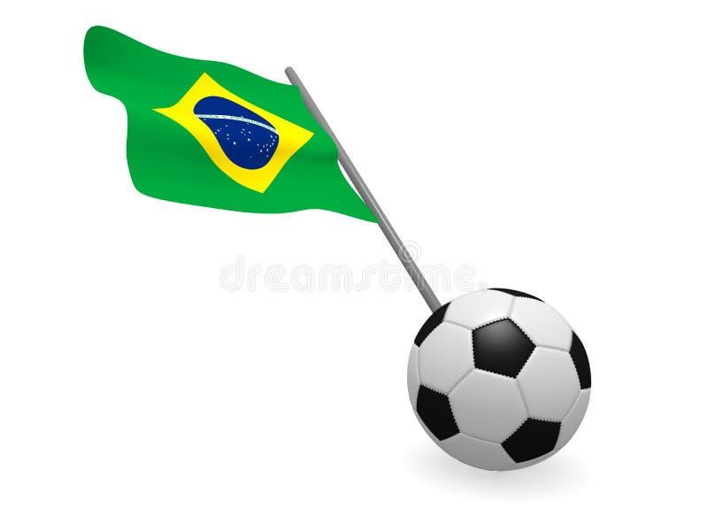 Pallone da calcio con la bandiera del Brasile illustrazione di stock