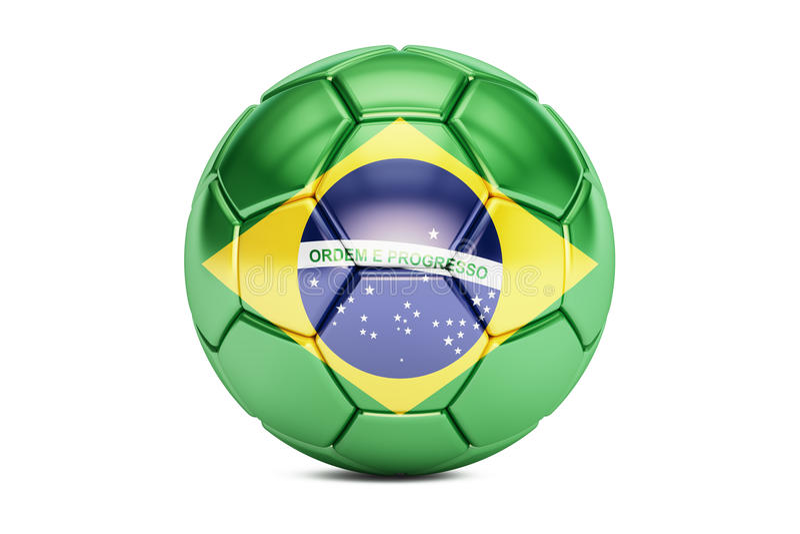 Pallone da calcio con la bandiera del Brasile, 3D illustrazione di stock