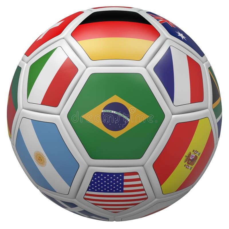 Pallone da calcio con la bandiera del Brasile nella parte anteriore royalty illustrazione gratis