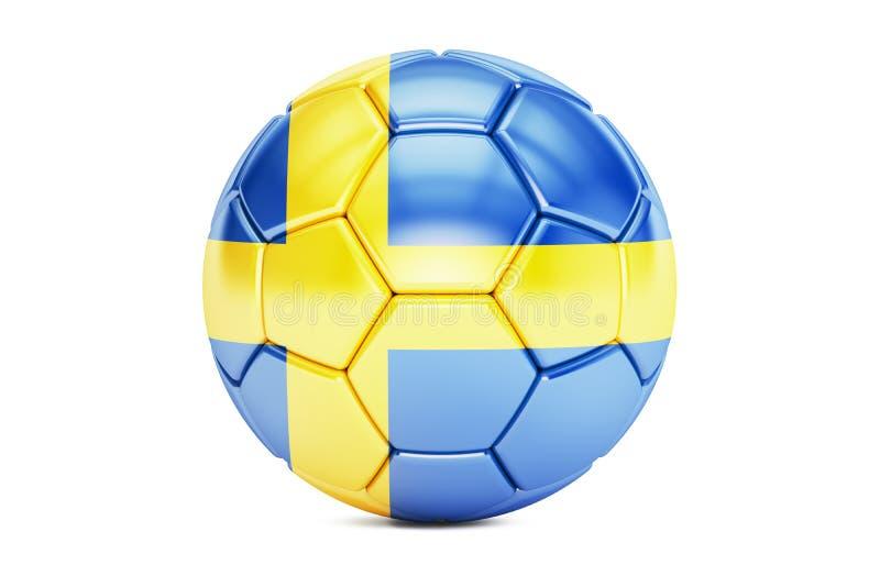 Pallone da calcio con la bandiera della Svezia illustrazione di stock