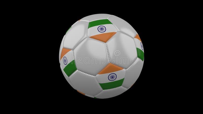 Pallone da calcio con la bandiera India, rappresentazione 3d illustrazione vettoriale
