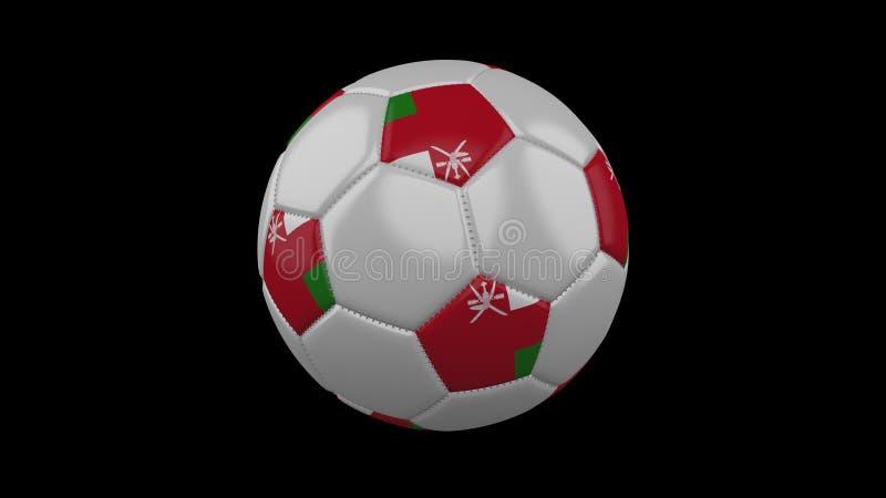 Pallone da calcio con la bandiera Oman, rappresentazione 3d illustrazione vettoriale