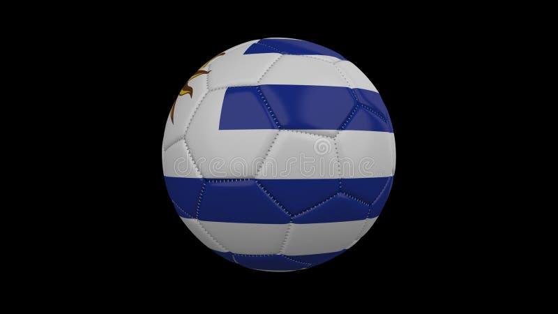 Pallone da calcio con la bandiera Uruguay, rappresentazione 3d illustrazione vettoriale