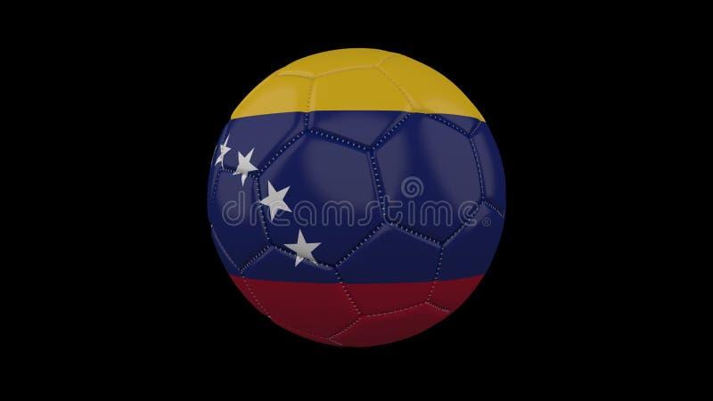 Pallone da calcio con la bandiera Venezuela, rappresentazione 3d illustrazione di stock