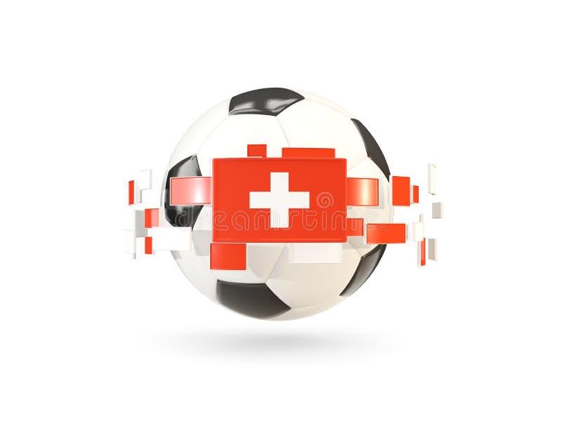 Pallone da calcio con la linea di bandiere Bandierina della Svizzera royalty illustrazione gratis